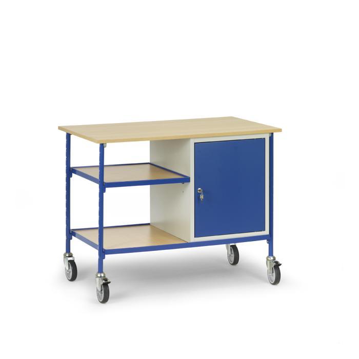 rolltisch mit 2 b den aus holz und 1 stahlschrank. Black Bedroom Furniture Sets. Home Design Ideas