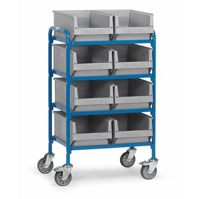 beistellwagen mit 4 b den aus holz l nge 630 mm mit 2x4 sichtlagerk sten. Black Bedroom Furniture Sets. Home Design Ideas