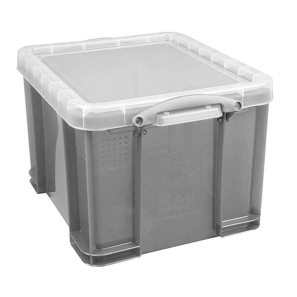 aufbewahrungsbox mit deckel volumen 9 bis 35 l kunststoff transparent grau. Black Bedroom Furniture Sets. Home Design Ideas