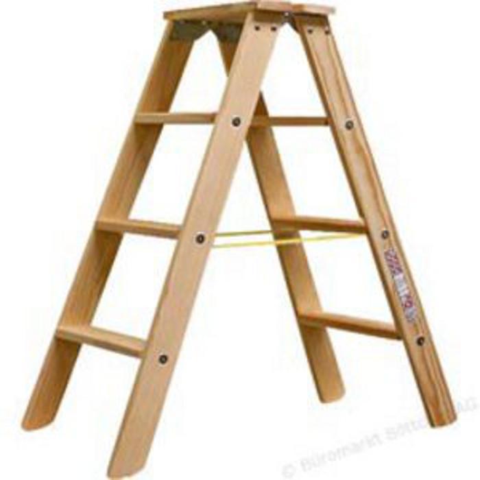 Stufen doppelleiter krause holz bis 2 20 m leiterh he - Escaleras de madera de pintor ...