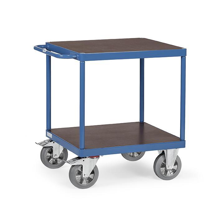 tischwagen mit quadratischer ladefl che mit 2 b den aus holz. Black Bedroom Furniture Sets. Home Design Ideas