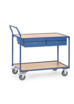 tischwagen mit 2 b den aus holz mit 2 schubl den. Black Bedroom Furniture Sets. Home Design Ideas